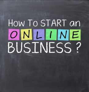 chalkboard saying how to start and online business from home?