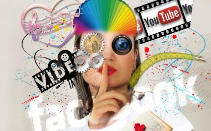 woman going shhh surrounded by YouTube and social media logos in a creative montage